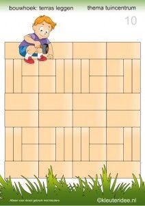 Deel 2: 15 voorbeeldkaarten om een terras te leggen in de bouwhoek, kleuteridee , thema tuincentrum, make a terrace in the block area 10.