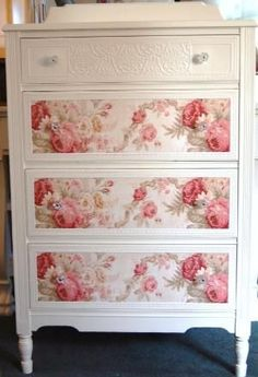 Shabby-chic style :Cottage Chic Dresser with Roses by Daniscustomdesigns- she does very cool cottage style furniture w/ floral paper and embossed papers - I definitely could do this! (Decopage them? Shabby Chic Design, Shabby Chic Mode, Shabby Chic Bedrooms, Shabby Chic Kitchen, Shabby Chic Style, Shabby Chic Furniture, Shabby Chic Decor, Painted Furniture, Sunroom Furniture