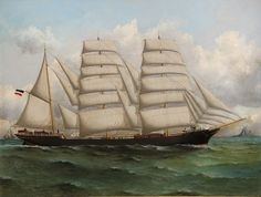 William Edgar (Australian, fl. 1898-1918) - Excellent Ship Portrait of the German Barque *Antuco* (of Hamburg) sailing to Australia, ca. 1900 - the vessel is shown under full sail at moderate sea off a Rock Headland with a light house and with two-masted vessel in the background.