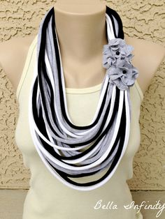 Bella Infinity Floral Scarf Flowers Black Grey White Up-Cycled Jersey Fabric Boho Chic. $25.00, via Etsy.