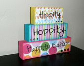 Hippity Hoppity Happity Easter Blocks - Spring/Easter Decoration. Ready to SHIP- SALE
