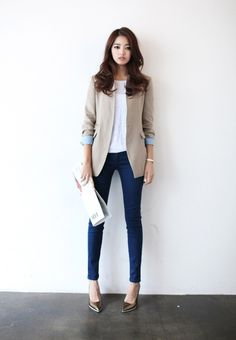 skinny jeans and blazer