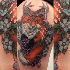 Fox tattoo by Georgina Liliane. GeorginaLiliane neotraditional majestic animal jewel fox
