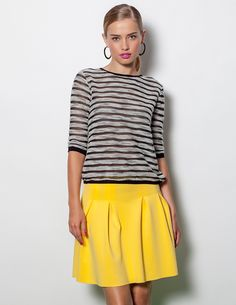 www.blanco.com Yellow Stripes, Skirts, Clothes, Tops, Women, Fashion, Yellow, White People, Yellow Skirts
