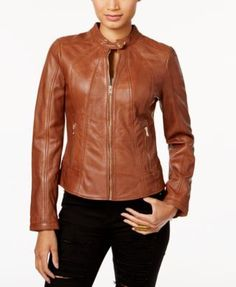 Guess Leather Moto Jacket - Brown S