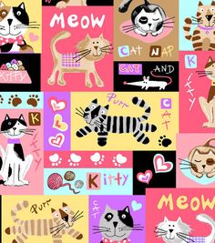 Kitty Block Flannel Fabric  cats mice paw prints by fabricfrantic, $6.25
