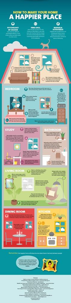 How to make your home a happier place infographic. Feng Shui , Psychology of colors. Interior Design Tips, Interior Decorating, Interior Ideas, Color Interior, Design Ideas, Simple Interior, Decorating Games, Casa Feng Shui, Feng Shui House