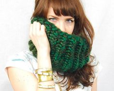 Chunky Knit Cowl Scarf Emerald Green by pipandpin on Etsy, $45.00 - Love the color!