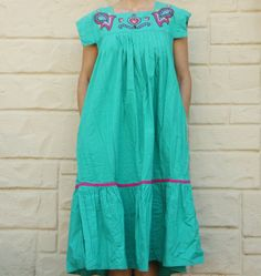 Vintage 80s-90s Mexican Embroidered Dress Patio by SycamoreVintage