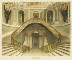 A Regency History guide to Carlton House, London residence of George IV. Jane Austen, House Staircase, Grand Staircase, Stairs, Charlotte P, Carlton House, Toy Theatre, Theatre Design, Theater