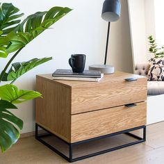 A bedroom is not complete without the beautiful and simple lines of Talia Bedside Table. An ode to simple geometry, this modern bedside table provides n. Cool Bedside Tables, Bedside Table Styling, Modern Bedside Table, Contemporary Bedside Tables, Bedside Table Design, Farmhouse Bedroom Decor, Home Bedroom, Bedroom Furniture, Furniture Design