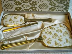 Vintage 1950s Vanity Set Hand Mirror Brush Comb Mint in Box Golden Floral Design by BlackRain4, $79.99