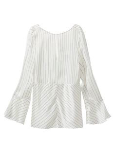 Pinstriped blouse with a slit detail in the front, made of 100% mulberry silk. Featuring an A-line silhouette, round neckline and long bell sleeves.
