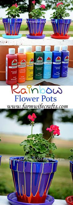 Rainbow Flower Pots These Rainbow flower pots are the perfect gift for Mother's Day or just because. Easy to make and sure to put a smile on anyone's face! - Easy Crafts for All Clay Pot Projects, Clay Pot Crafts, Crafts To Make, Fun Crafts, Crafts For Kids, Art Projects, Mothers Day Flower Pot, Mothers Day Crafts, Painted Clay Pots