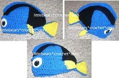 CUSTOM Crocheted DORY Fish Halloween Costume Beanie Hat