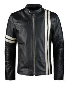 Driver -  Replica of the leather jacket worn by Tanner in Driver: San Francisco in 1.2mm Italian calf leather with shoulder and elbow armour protection. Cafe Racer style stripes. Zip-in removable vest. SoulRevolver.com