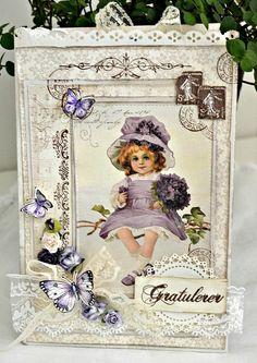 Stempelglede :: Design Team Blog. Handmade card. Rubber stamps used for this project: Gratulerer med dagen, Vintage Baby, Post Card from Paris and Følg hjertet ditt stamp sets. 2014 © Mette Rønning Buskum
