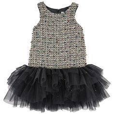 Curly tweed dress with black tulle flounces by Mischka Aoki