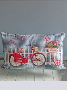 """Embroidery Blessings Ideas ~Have A Blessed Day~ """"Old Fashion Vintage Farmer's Wife"""" ~~Bicycle Cushion Applique Cushions, Cute Cushions, Cute Pillows, Sewing Pillows, Throw Pillows, Owl Pillows, Burlap Pillows, Applique Patterns, Embroidery Applique"""