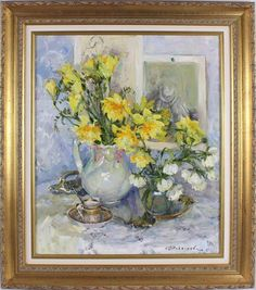 Russian School Original Oil Painting Daffodils Flowers Still Life Signed Framed Now Oils, Daffodil Flower, Daffodils, Still Life, Contemporary, The Originals, Antiques, School, Frame