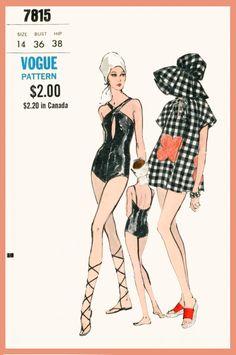 1960s 1970s vintage swimsuit sewing pattern beach bathing suit one piece swimwear & hat bust 36 b36 repro by LadyMarloweStudios on Etsy https://www.etsy.com/listing/231881635/1960s-1970s-vintage-swimsuit-sewing