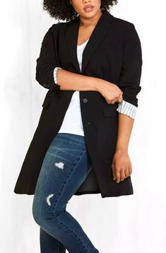 Women's plus size fall jackets sure sing with style like this blazer with a twist. You can also go for a classic version or stick to the trendy menswear feel, as shown above. Click through to see more options on fall jackets for women! #TravelFashionGirl #TravelFashion #TravelClothing #falljacketsforwomen #womenblazer #womenjacket Travel Fashion, Travel Style, Blazers For Women, Jackets For Women, Trendy Mens Fashion, Plus Size Fall, Fall Jackets, Menswear, Stylish