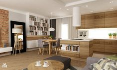 dom ok 100m2 metamorfoza - Mała otwarta jadalnia w kuchni w salonie, styl nowoczesny - zdjęcie od Grafika i Projekt architektura wnętrz