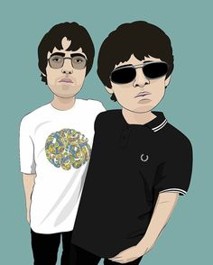 Lennon Gallagher, Noel Gallagher, 1990s Music, Oasis Band, Andy Capp, Liam And Noel, Music Illustration, Illustrations, Casual Art