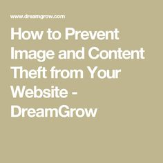 How to Prevent Image and Content Theft from Your Website - DreamGrow