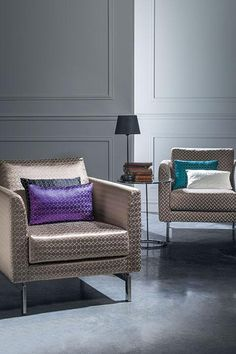 Arm chairs + Accent pillow - sleek & gorgeous....love the shades