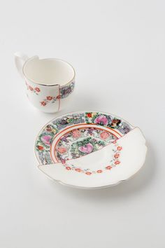 Unlikely Symmetry Roses Teacup & Saucer - Anthropologie.com
