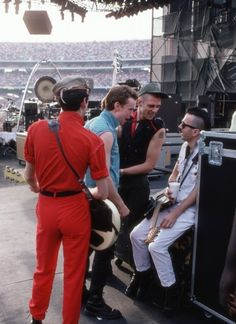 The Clash backstage at Shea Stadium, 1982.
