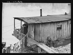 Houseboat on the Ohio River at Rochester, PA in 1940. I grew up along the banks of this river.