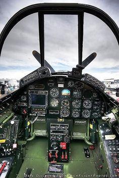 Beautiful Warbirds — A view of a modernized cockpit of a Corsair. Ww2 Aircraft, Fighter Aircraft, Military Aircraft, Fighter Jets, F4u Corsair, Photo Avion, Ww2 Planes, Vintage Airplanes, Flight Deck