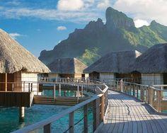 Four Seasons Resort view of Mount Otemanu  #borabora Polynesia bungalows | boraboraphotos.com