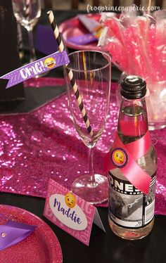 Decorate your glam emoji party with sequined runners and let the kids drink out of champagne glasses. It'll bring big smiley faces all around! #sponsored