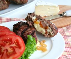 Brie and Caramelized Onion Stuffed Burgers @ All Day I Dream About Food