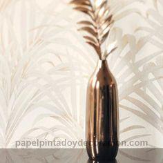 Papel pintado hojas de palmera plateadas doradas fondo blanco LOU28921108
