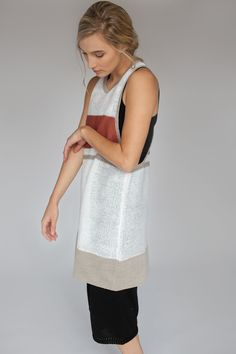 Kordal for Mavenhaus Collective WHITE RACERBACK TUNIC WITH PENNY AND LINEN STRIPES #mavenhauscollective