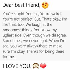16 new Ideas travel friends quotes bff fun Birthday Quotes For Best Friend, Best Friends Sister, Best Friends Funny, Best Friends Forever, To My Best Friend, Dear Best Friend Letters, Quotes For Best Friends, Love You Friend, Missing Best Friend Quotes