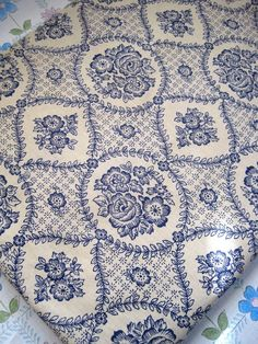 1950 s French Blue And Cream Floral Fabric