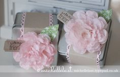 Creped filter paper flowers using Stampin Up supplies by Michelle Last