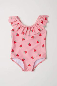 Lace-patterned swimsuit with a flounce at top and V-neck at back. Lined gusset. Baby Clothes Patterns, Cute Baby Clothes, Clothing Patterns, Little Girl Swimsuits, Baby Girl Swimsuit, Baby Swimwear, Swimsuit Pattern, Girls Swimming, Cute Outfits For Kids