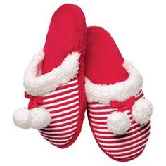 Red and White Striped Slipper