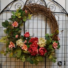 Everyday Wreath with Hydrangea, Pink Wild Roses, Peony Wreath, Wild Rose, Mothers Day wreath Shade Flowers, Faux Flowers, Fall Wreaths, Door Wreaths, Floral Wreaths, Mothers Day Wreath, Beautiful Flower Arrangements, Fall Arrangements, Purple Peonies