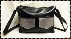 Besace zip-zip cousue par Mag'Créations - Simili noir et glitter argent - Patron besace compartimentée Sacôtin