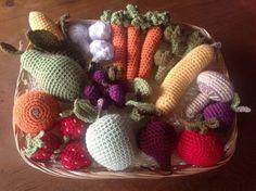 Decorative basket of crocheted fruit & vegetables