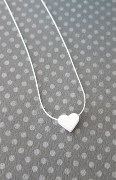 Petite Silver Heart Necklace - Sterling Silver Chain, chic, dainty, love, Sterling Silver jewelry, Best friend, Sisters, bridesmaid gifts, , by ColorMeMissy