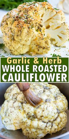Whole Roasted Cauliflower Head gets coated in a low-carb and keto garlic and herb sauce for a simple quick and easy healthy side dish recipe. This oven roasted cauliflower recipe is gluten-free dairy-free vegan vegetarian low-carb keto and Paleo approved! Healthy Side Dishes, Side Dish Recipes, Vegetable Recipes, Herb Recipes, Garlic Recipes, Healthy Sides, Pizza Recipes, Potato Recipes, Dinner Recipes