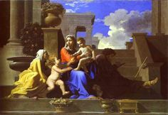 THE MADONNA OF THE STEPS. oil on canvas. 72,4 × 111,7 cm. This version and the version of Washington are painted by Poussin. Provenance : according to Felibien, painted for Hennequin du Fresne. Bibliografia : Blunt 53; Thuilllier 152.